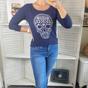 Billabong blue long sleeve skull sweater top